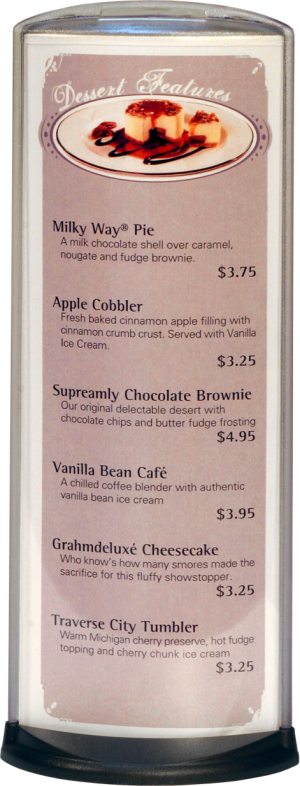 Podia Vertical Display - Dessert Features