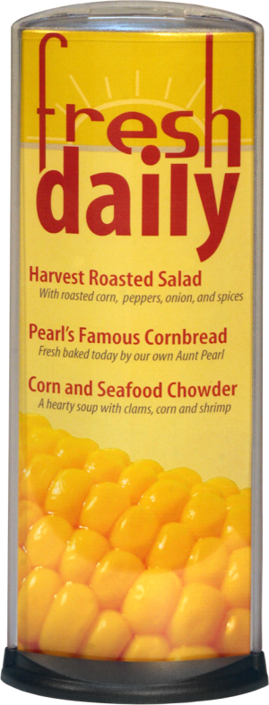 Podia Vertical Display - Fresh Daily- With Corn