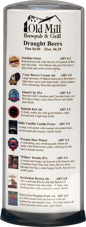 Podia Vertical Display - Old Mill Brewpub and Grill